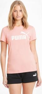 Różowa bluzka Puma w sportowym stylu z okrągłym dekoltem z krótkim rękawem