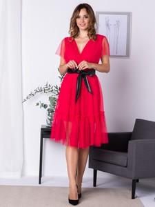 Sukienka Grandio z tkaniny z krótkim rękawem z dekoltem w kształcie litery v