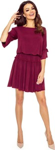 Czerwona sukienka Moda Dla Ciebie z długim rękawem z okrągłym dekoltem