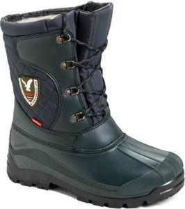 Niebieskie buty zimowe Demar w militarnym stylu