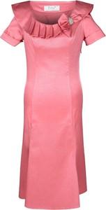 Czerwona sukienka Fokus midi z tkaniny dopasowana