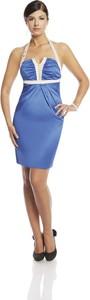 Niebieska sukienka Fokus w stylu glamour mini dopasowana