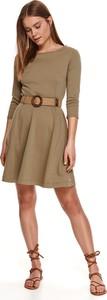 Sukienka Top Secret z okrągłym dekoltem mini z długim rękawem