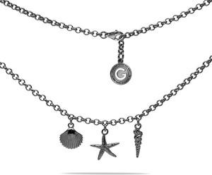 GIORRE SREBRNY NASZYJNIK CHOKER ROZGWIAZDA I MUSZLA 925 : Kolor pokrycia srebra - Pokrycie Czarnym Rodem