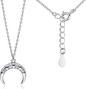Valerio Rodowany srebrny naszyjnik gwiazd celebrytka księżyc moon białe cyrkonie srebro 925 Z1710N