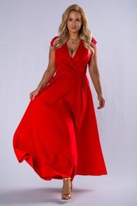 Sukienka Moda Dla Ciebie maxi z dekoltem w kształcie litery v