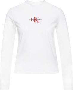Bluzka Calvin Klein z długim rękawem w stylu casual z okrągłym dekoltem