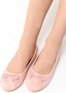 Różowe baleriny renee ze skóry