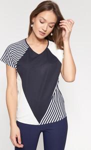 Granatowa bluzka QUIOSQUE z krótkim rękawem w stylu casual