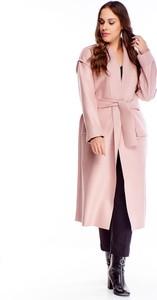 Różowy płaszcz Ptakmoda.com w stylu casual