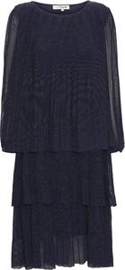 Granatowa sukienka A-view z długim rękawem mini