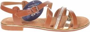 Brązowe sandały Nicewalk z klamrami w stylu casual ze skóry