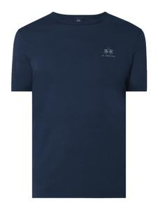 Granatowy t-shirt La Martina w stylu casual z krótkim rękawem