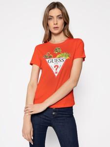 Czerwony t-shirt Guess z krótkim rękawem