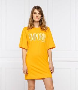Pomarańczowa sukienka Emporio Armani z okrągłym dekoltem