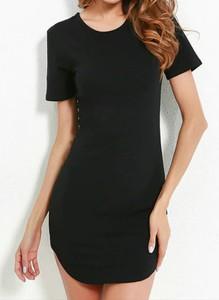 Czarna sukienka Arilook mini z krótkim rękawem z dresówki