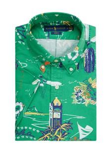 Zielona koszula POLO RALPH LAUREN z bawełny z długim rękawem w młodzieżowym stylu
