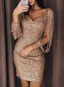 Złota sukienka Cikelly z długim rękawem mini