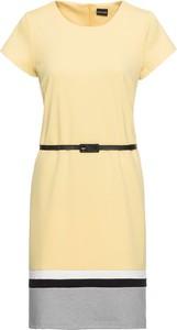Żółta sukienka bonprix BODYFLIRT z okrągłym dekoltem mini z krótkim rękawem
