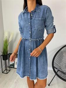 Niebieska sukienka ModnaKiecka.pl w stylu casual z długim rękawem