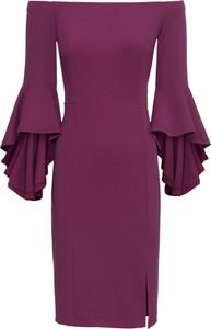 Fioletowa sukienka bonprix BODYFLIRT boutique z długim rękawem midi