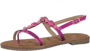Różowe sandały tamaris z płaską podeszwą