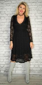 Czarna sukienka Made in Italy midi z długim rękawem z dekoltem w kształcie litery v