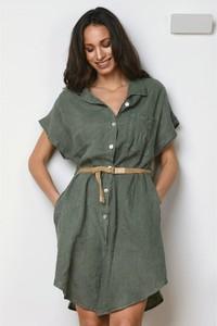Zielona sukienka La Fabrique Du Lin z kołnierzykiem koszulowa mini