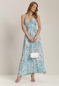 Niebieska sukienka Renee na ramiączkach z dekoltem w kształcie litery v maxi