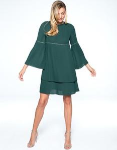 Zielona sukienka L'AF z długim rękawem mini