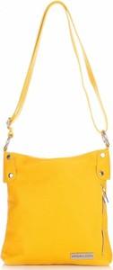 Żółta torebka VITTORIA GOTTI ze skóry duża na ramię