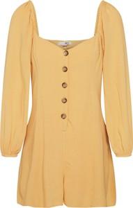 Żółty kombinezon Amuse Society z bawełny w młodzieżowym stylu z krótkimi nogawkami