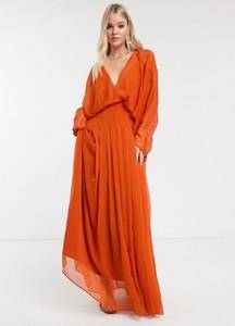 Brązowa sukienka Asos Design z dekoltem w kształcie litery v z długim rękawem