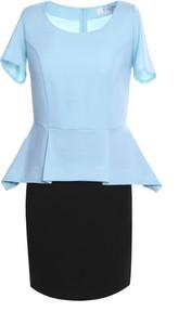 Niebieska sukienka Fokus z krótkim rękawem z tkaniny w stylu klasycznym