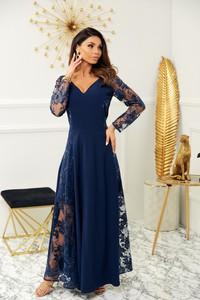 Niebieska sukienka Marconifashion z dekoltem w kształcie litery v z długim rękawem