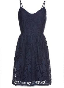 Granatowa sukienka bonprix BODYFLIRT w kształcie litery v