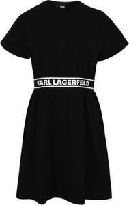 Czarna sukienka Karl Lagerfeld z okrągłym dekoltem mini