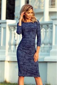 Niebieska sukienka NUMOCO dopasowana z okrągłym dekoltem w stylu casual