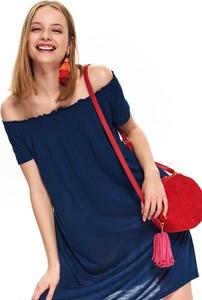 Granatowa sukienka Top Secret w stylu casual mini z krótkim rękawem