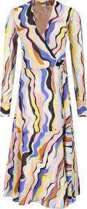 Sukienka Marella midi z dekoltem w kształcie litery v z długim rękawem