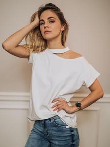 T-shirt Promese w stylu casual z bawełny
