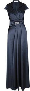 Granatowa sukienka Fokus rozkloszowana z dekoltem w kształcie litery v maxi