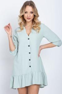 Miętowa sukienka Royalfashion.pl mini z długim rękawem