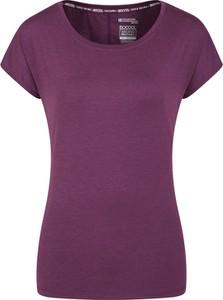 Fioletowa bluzka Mountain Warehouse w sportowym stylu z krótkim rękawem z okrągłym dekoltem