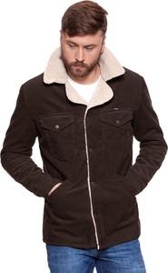 Brązowy płaszcz męski Wrangler w stylu casual