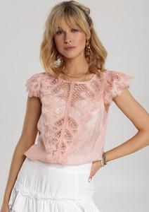 Różowa bluzka Renee z okrągłym dekoltem