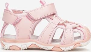 Różowe buty dziecięce letnie Multu ze skóry na rzepy
