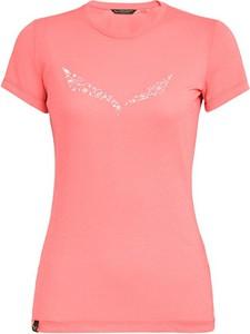 Różowy t-shirt Salewa z okrągłym dekoltem w sportowym stylu z bawełny