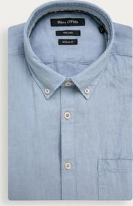 Niebieska koszula Marc O'Polo z krótkim rękawem z lnu
