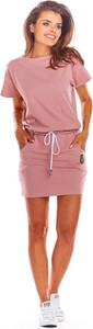 Różowa sukienka Infinite You z bawełny z krótkim rękawem